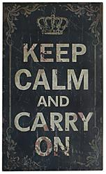 "11.75"" x 19.75"" Wood ""Keep Calm and Carry On"" Wall Decor"