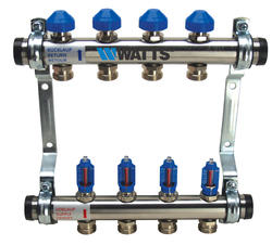 1 IN Stainless Steel Manifold Kit, 4 Circuits, Compression Fittings