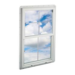 "Crestline New Construction 24"" x 42"" Vinyl Single Hung Window with Zo-E-Shield Insulated Glass and Grilles in Airspace"