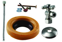 Westbrass Cross Handle Ball Valve Toilet Kit & Wax Ring