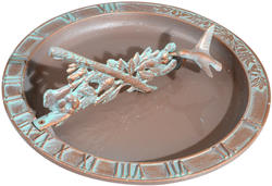 Whitehall Copper Verdigris Hummingbird Sundial Birdbath