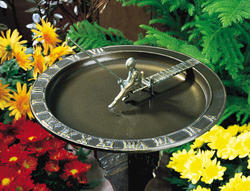 Whitehall French Bronze Fisherboy Sundial Birdbath