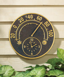 Whitehall French Bronze Solstice Thermometer Clock