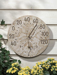 Whitehall Weathered Limestone Fossil Sumac Thermometer Clock