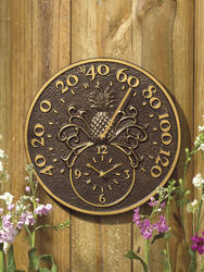 Whitehall French Bronze Pineapple Thermometer Clock
