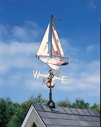 Whitehall Polished Copper Sailboat Weathervane