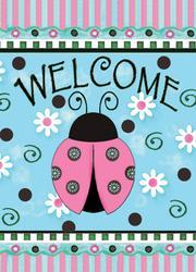 """Ladybug Welcome 11"""" x 15"""" Flag"""