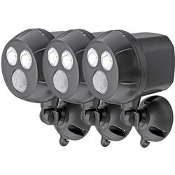 Mr Beams MB393 300-Lumen Weatherproof Wireless Battery Powered LED Ultra Bright Spotlight with Motion Sensor 3-Pack