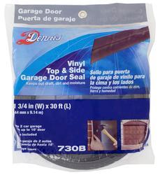 WJ Dennis Brown Vinyl Top & Side Garage Door Seal Weatherstrip