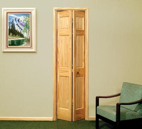 Mastercraft 36 X 80 Unfinished 6 Panel Pine 2 Leaf Bifold Door At
