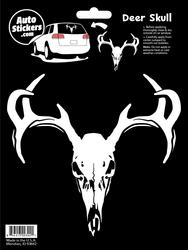 Car Sticker with Drawing of Deer Skull with Antlers