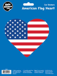 American Flag Heart Automotive Decal