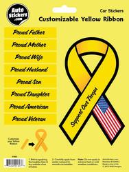 Customizable Yellow Ribbon Automotive Decal