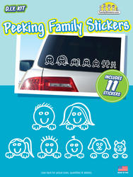 Peeking Family Car Stickers (11-Piece Kit)