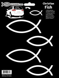 4 Christian Fish Symbol Car Stickers