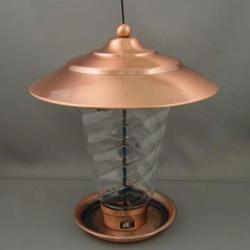 Enchanted Garden™ Copper Lantern Feeder with Swirl Glass