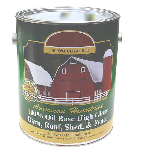 American heartland hi gloss classic red oil base barn for Oil based fence paint
