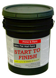 Start to Finish Flat White Latex Wall Primer & Paint - 5 gal.
