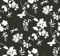 York Wallcoverings Silhouettes Trailing Floral and Vines Wallpaper