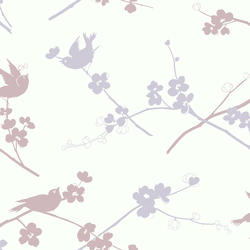 York Wallcoverings Silhouettes Cherry Blossom and Birds Wallpaper