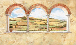 ROOMMATES Tuscan View Chair Rail Prepasted Mural 6' x 10.5' - Ultra-strippable