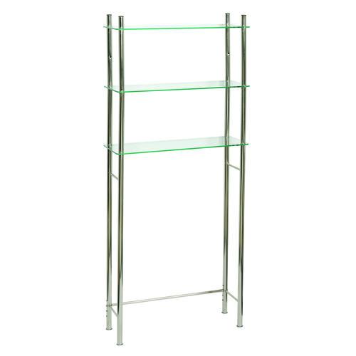 Brushed Nickel Bathroom Floor Shelf : Tuscany verre over the toilet spacesaver shelf brushed