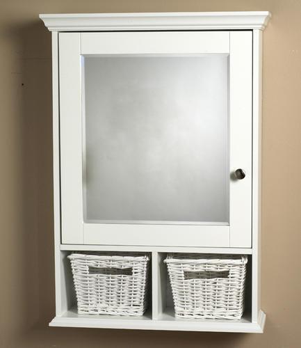 Zenith White Wood Medicine Cabinet With Baskets At Menards 174