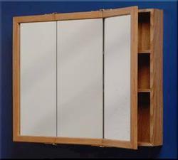"Zenith 30"" Oak Tri-View Medicine Cabinet"