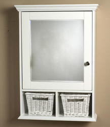 Zenith White Wood Medicine Cabinet with Baskets