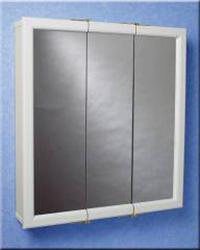 """Zenith 24"""" White Tri-View Medicine Cabinet"""