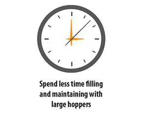 Spend less time filling and maintaining with large hoppers