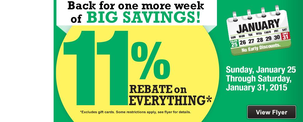 11% Rebate Sale