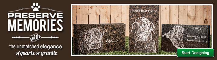 Preserve memories with the unmatched elegance of quartz or granite. Start designing your pet memorial.