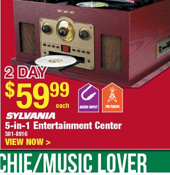2 DAY SALE: Sylvania 5-in-1 Entertainment Center