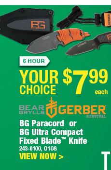 6 HOUR SALE: Your Choice - BG Paracord or BG Ultra Compact Fixed Blade Knife