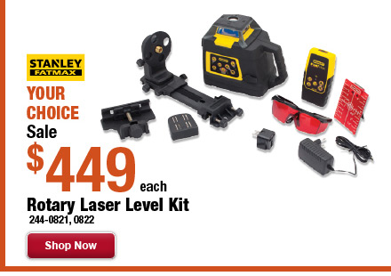 "Your Choice: Stanley<span class=""registered"">&reg;</span> Rotary Laser Level Kit"