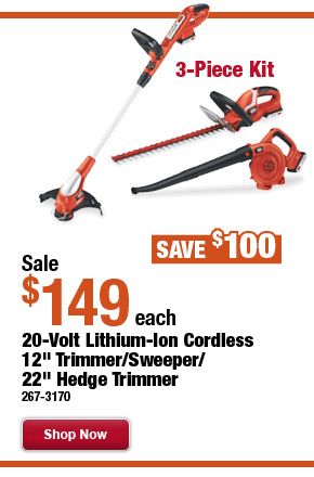 "Black & Decker 20-Volt Lithium-Ion Cordless 12""  Trimmer/Sweeper/22"" Hedge Trimmer - 3-Piece Kit"