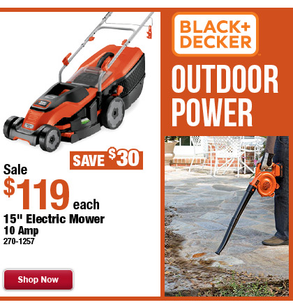 "Black & Decker 15"" Electric Mower - 10 AMP"